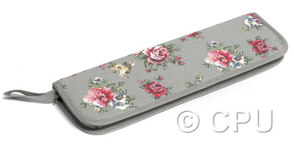 Grey with Floral Design Knitting Pin Case