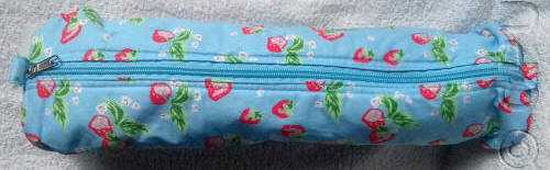 Blue with Strawberry Design Knitting Pin Bag