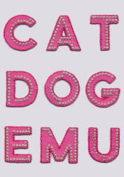 Pink Iron On Letters Motifs