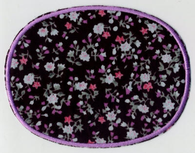 Black Floral with Edging Patch