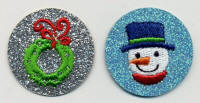 Glittery Round Snowman and Wreath