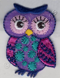 Lilac Owl with Pink Eyes and Wings